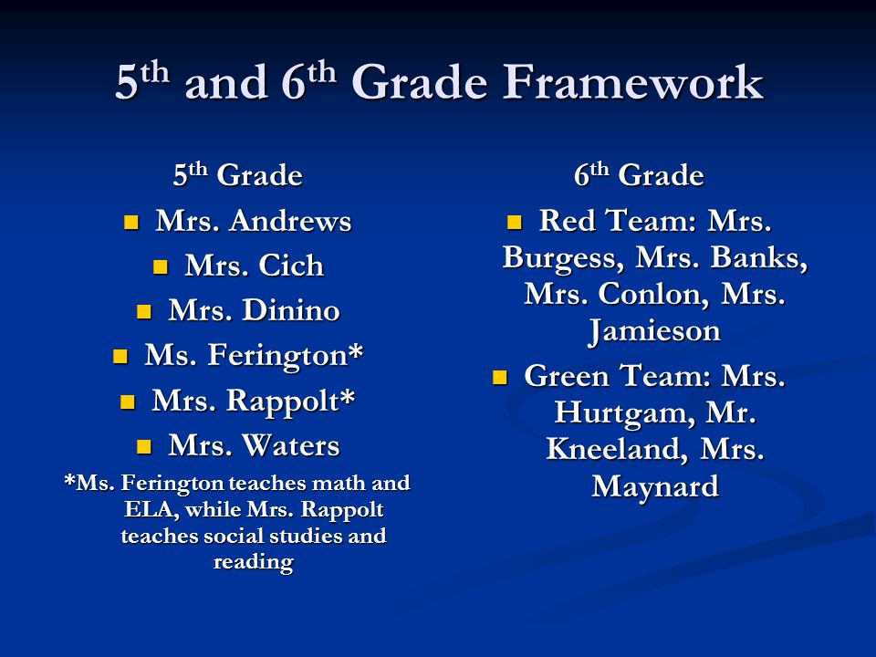 5 th and 6 th Grade Framework 5 th Grade Mrs. Andrews Mrs.