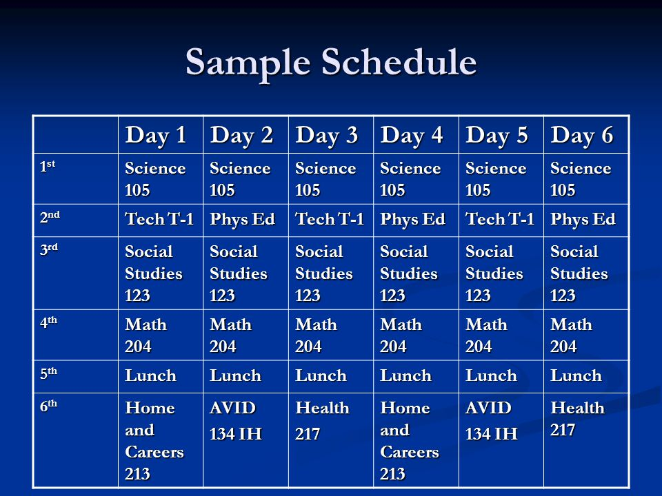 Sample Schedule Day 1 Day 2 Day 3 Day 4 Day 5 Day 6 1 st Science 105 2 nd Tech T-1 Phys Ed Tech T-1 Phys Ed Tech T-1 Phys Ed 3 rd Social Studies 123 4 th Math 204 5 th LunchLunchLunchLunchLunchLunch 6 th Home and Careers 213 AVID 134 IH Health217 Home and Careers 213 AVID 134 IH Health 217