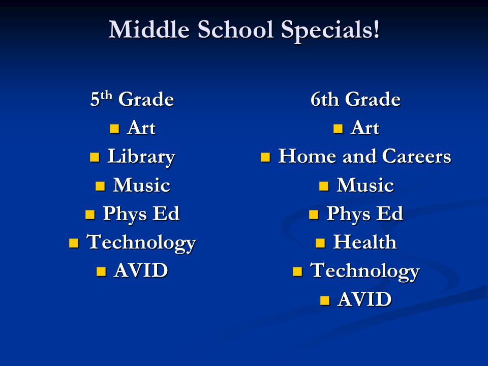 5 th Grade Art Art Library Library Music Music Phys Ed Phys Ed Technology Technology AVID AVID 6th Grade Art Home and Careers Music Phys Ed Health Technology AVID