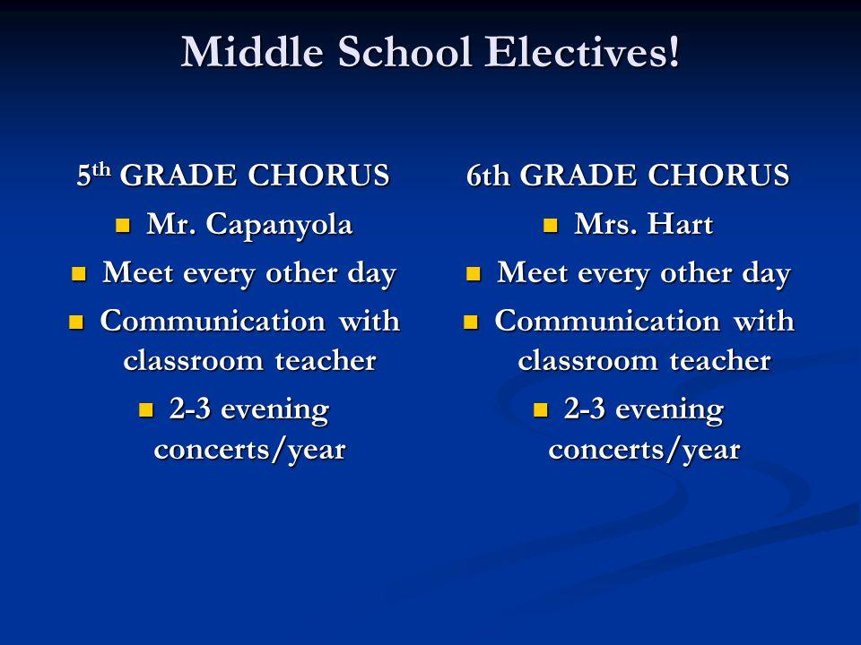 Middle School Electives. 5 th GRADE CHORUS Mr. Capanyola Mr.