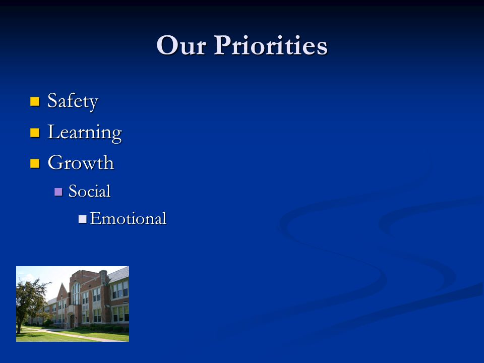 Our Priorities Safety Safety Learning Learning Growth Growth Social Social Emotional Emotional