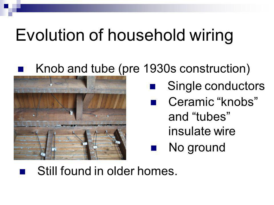 Evolution of household wiring Knob and tube (pre 1930s construction) Single conductors Ceramic knobs and tubes insulate wire No ground Still found in older homes.