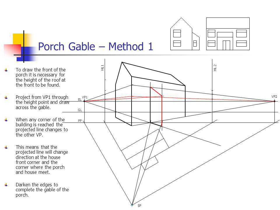 Porch Gable – Method 1 VP1 VP2 EL GL PP SP HL 2 HL1 To draw the front of the porch it is necessary for the height of the roof at the front to be found
