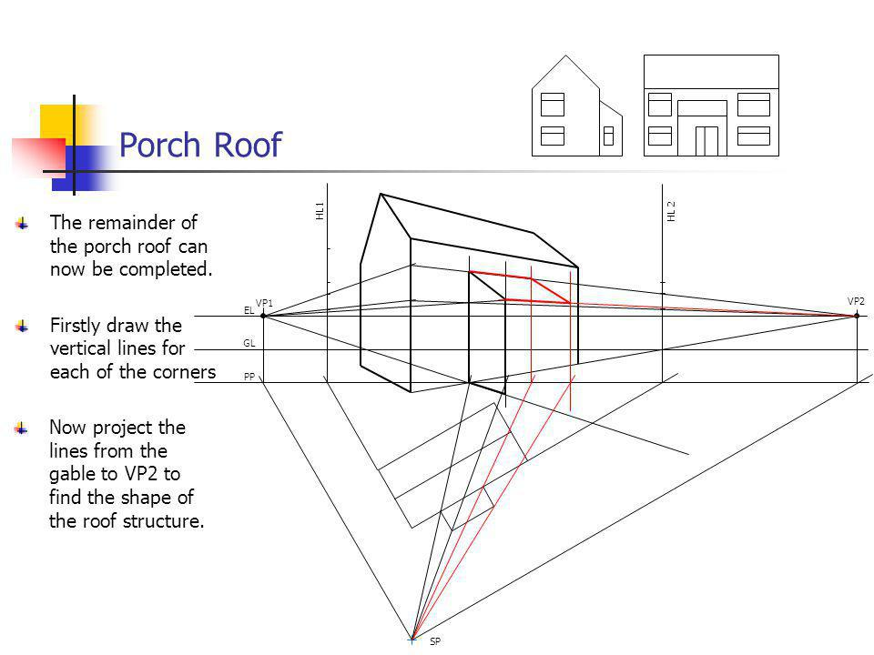 Porch Roof Now project the lines from the gable to VP2 to find the shape of the roof structure. VP1 VP2 EL GL PP SP HL 2 HL1 The remainder of the porc