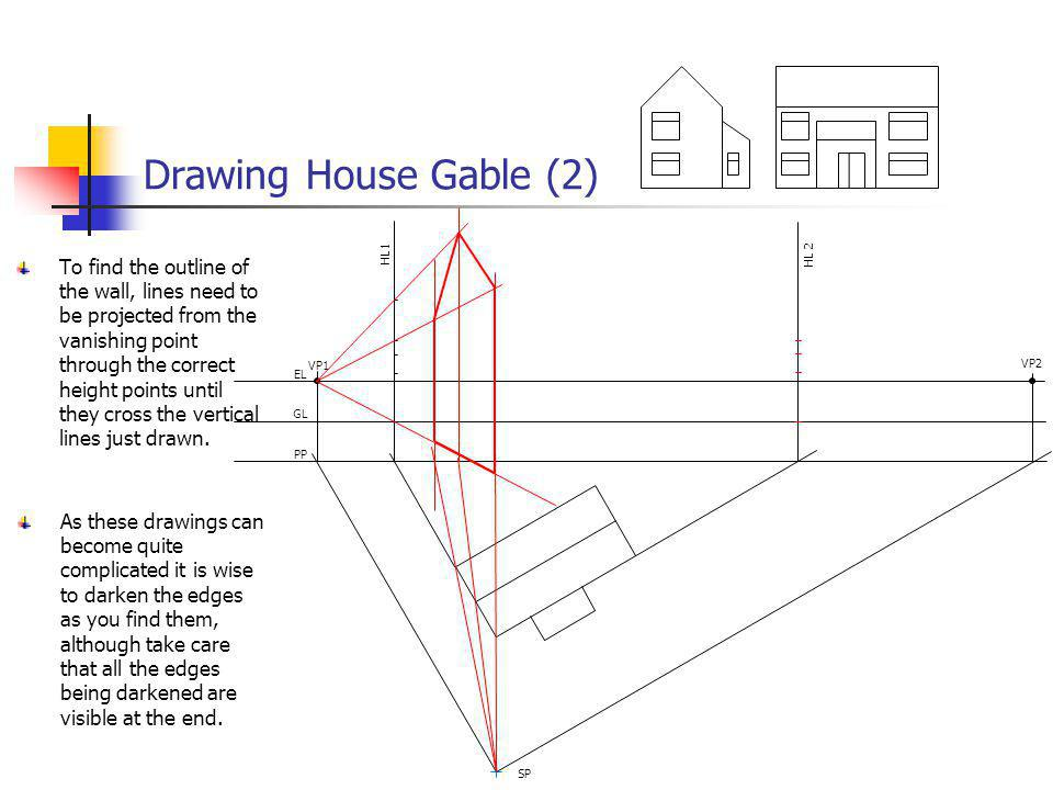 Drawing House Gable (2) VP1 VP2 EL GL PP SP HL 2 HL1 To find the outline of the wall, lines need to be projected from the vanishing point through the