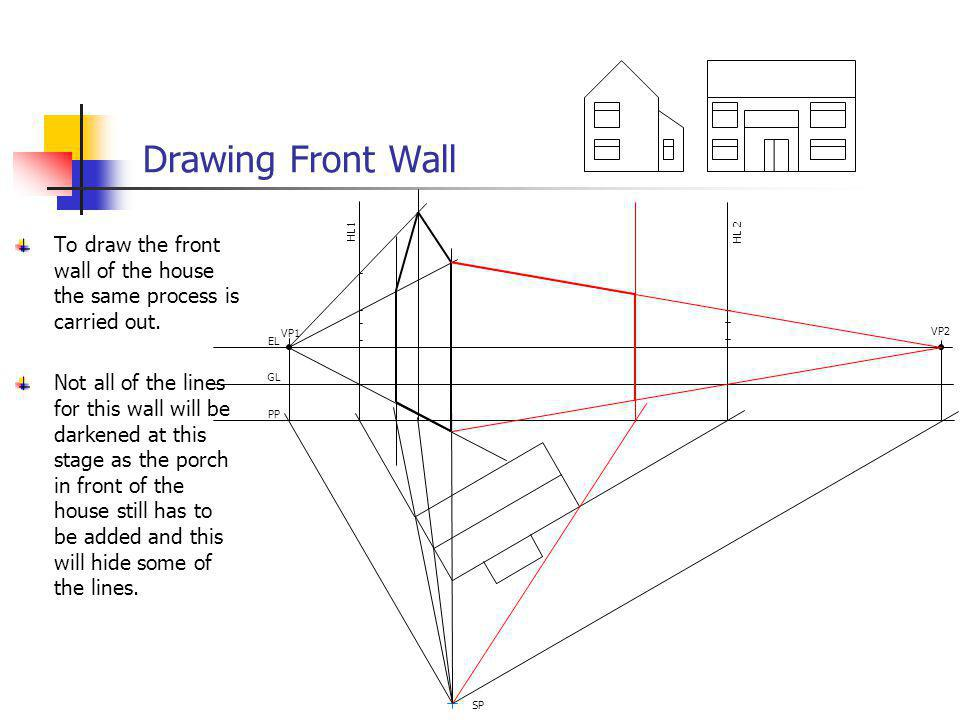 Drawing Front Wall VP1 VP2 EL GL PP SP HL 2 HL1 To draw the front wall of the house the same process is carried out. Not all of the lines for this wal