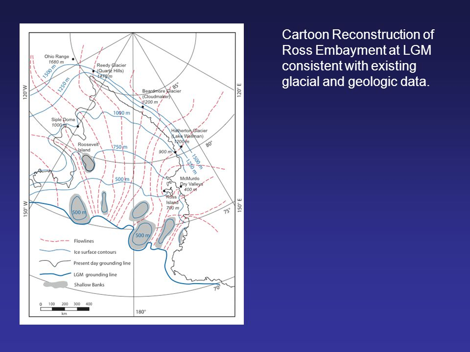 Cartoon Reconstruction of Ross Embayment at LGM consistent with existing glacial and geologic data.