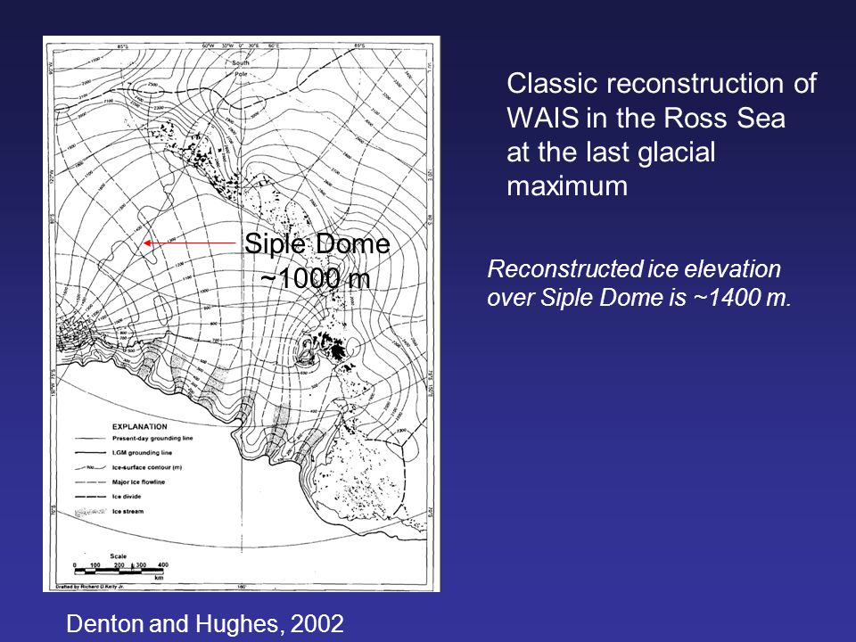 Denton and Hughes, 2002 Classic reconstruction of WAIS in the Ross Sea at the last glacial maximum Siple Dome ~1000 m Reconstructed ice elevation over