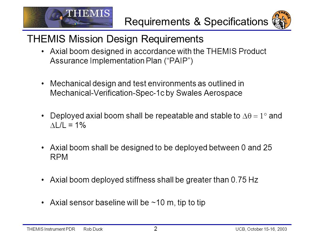 THEMIS Instrument PDRRob Duck 3 UCB, October 15-16, 2003 Requirements & Specifications Mechanical Design Objectives Axial boom shall be modular and removable from probe with minimal probe disassembly Axial boom test and safe plug shall be externally accessible to probe Each individual boom shall have a single point of actuation Axial boom design shall be based on heritage designs from previous launches Mass 2 Kg per boom Deployment execution is critical Proper stowing of wire cable One time deployment Full boom extension