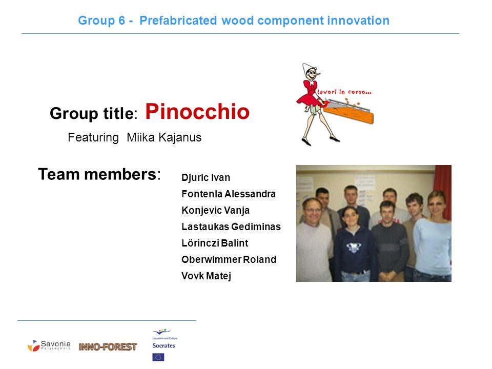 Group title: Pinocchio Djuric Ivan Fontenla Alessandra Konjevic Vanja Lastaukas Gediminas Lörinczi Balint Oberwimmer Roland Vovk Matej Team members: G