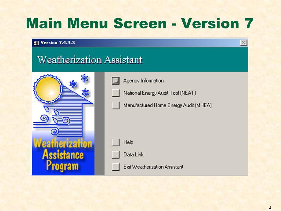 4 Main Menu Screen - Version 7