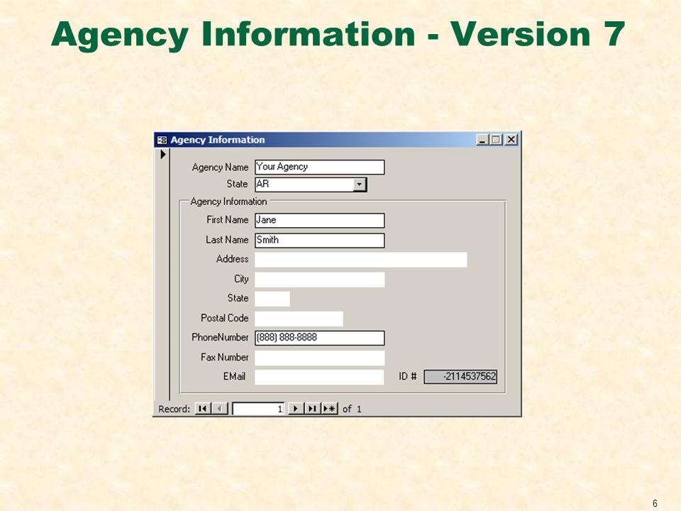Agency Information - Version 7 6