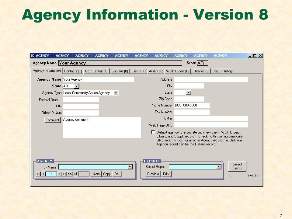Agency Information - Version 8 7