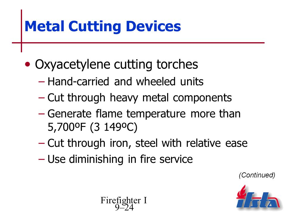 Firefighter I 9–24 Metal Cutting Devices Oxyacetylene cutting torches –Hand-carried and wheeled units –Cut through heavy metal components –Generate flame temperature more than 5,700ºF (3 149ºC) –Cut through iron, steel with relative ease –Use diminishing in fire service (Continued)