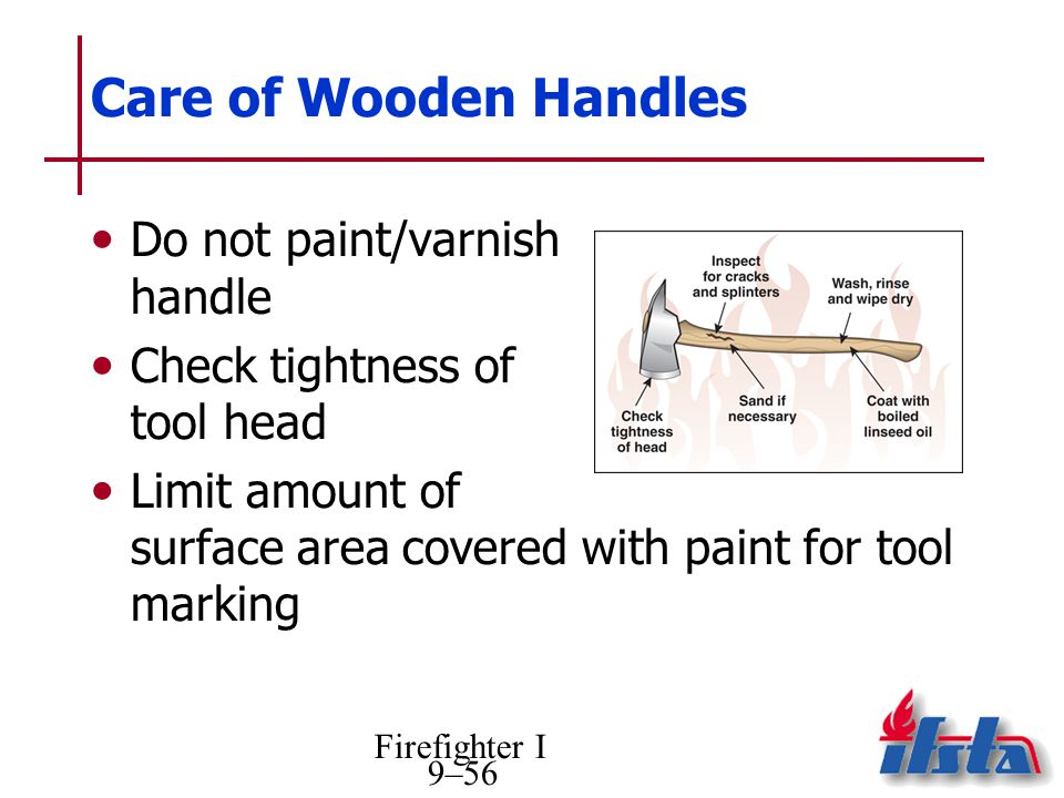 Firefighter I 9–56 Care of Wooden Handles Do not paint/varnish handle Check tightness of tool head Limit amount of surface area covered with paint for tool marking