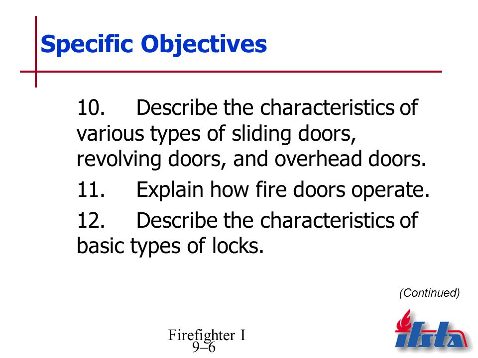Firefighter I 9–6 Specific Objectives 10.Describe the characteristics of various types of sliding doors, revolving doors, and overhead doors.