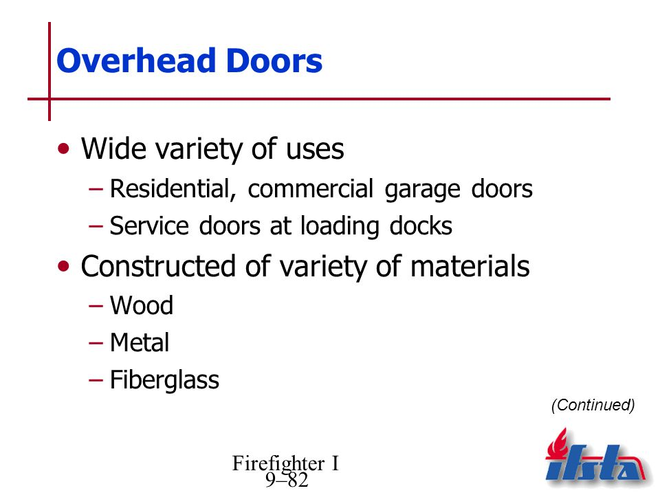 Firefighter I 9–82 Overhead Doors Wide variety of uses –Residential, commercial garage doors –Service doors at loading docks Constructed of variety of materials –Wood –Metal –Fiberglass (Continued)