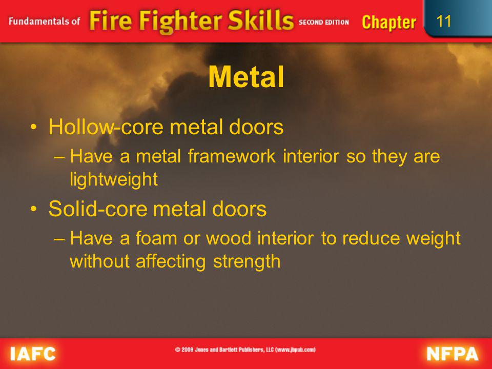 11 Metal Hollow-core metal doors –Have a metal framework interior so they are lightweight Solid-core metal doors –Have a foam or wood interior to redu