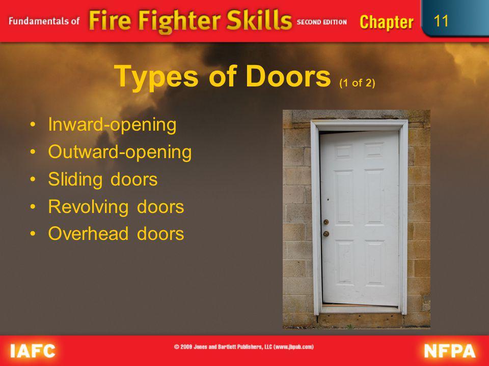 11 Types of Doors (1 of 2) Inward-opening Outward-opening Sliding doors Revolving doors Overhead doors