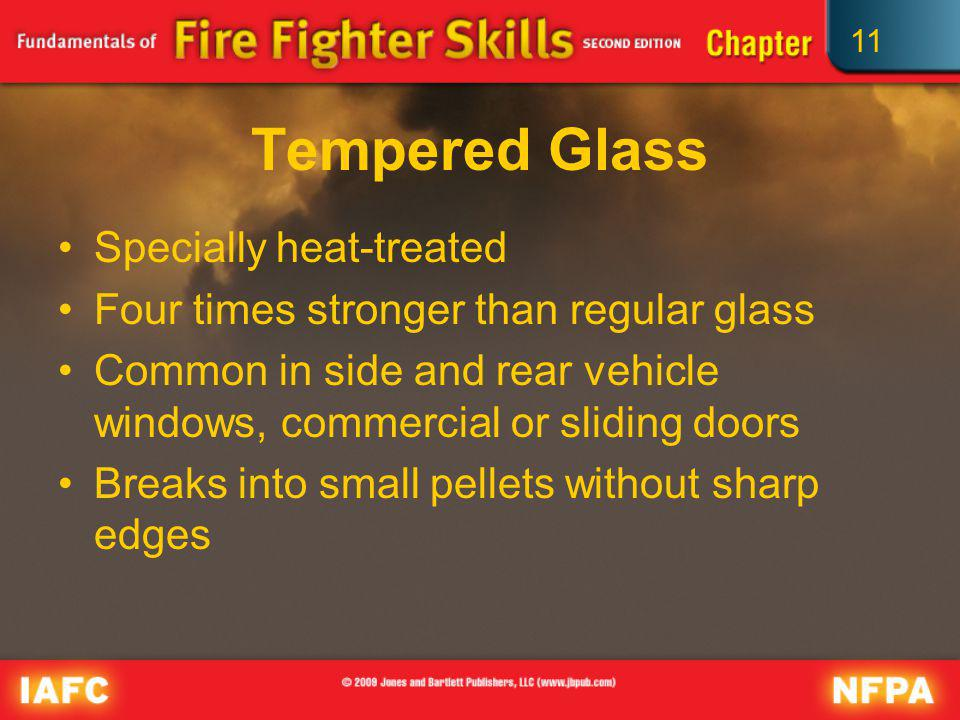 11 Tempered Glass Specially heat-treated Four times stronger than regular glass Common in side and rear vehicle windows, commercial or sliding doors B