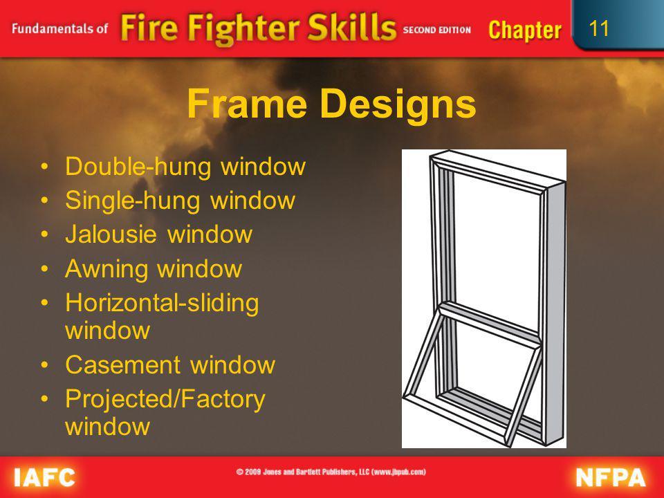 11 Frame Designs Double-hung window Single-hung window Jalousie window Awning window Horizontal-sliding window Casement window Projected/Factory windo