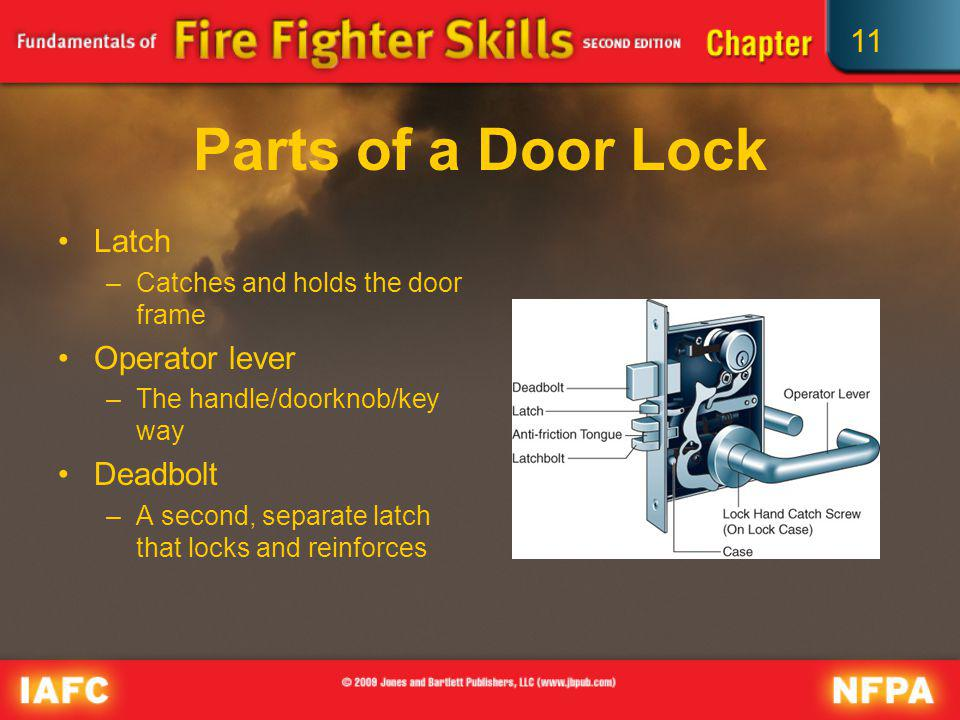 11 Parts of a Door Lock Latch –Catches and holds the door frame Operator lever –The handle/doorknob/key way Deadbolt –A second, separate latch that lo