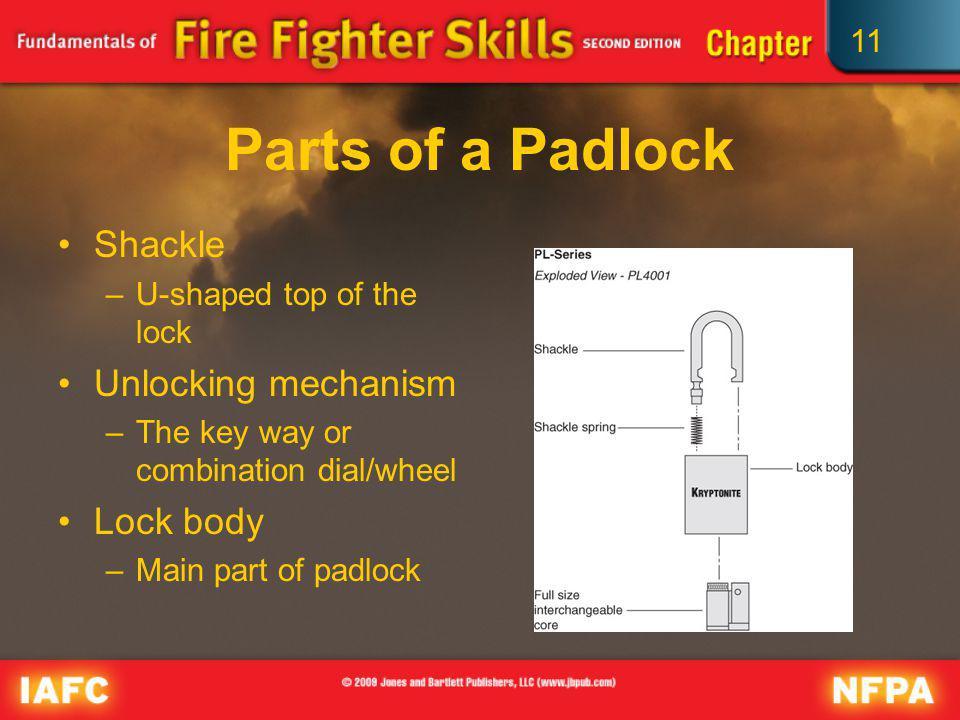 11 Parts of a Padlock Shackle –U-shaped top of the lock Unlocking mechanism –The key way or combination dial/wheel Lock body –Main part of padlock