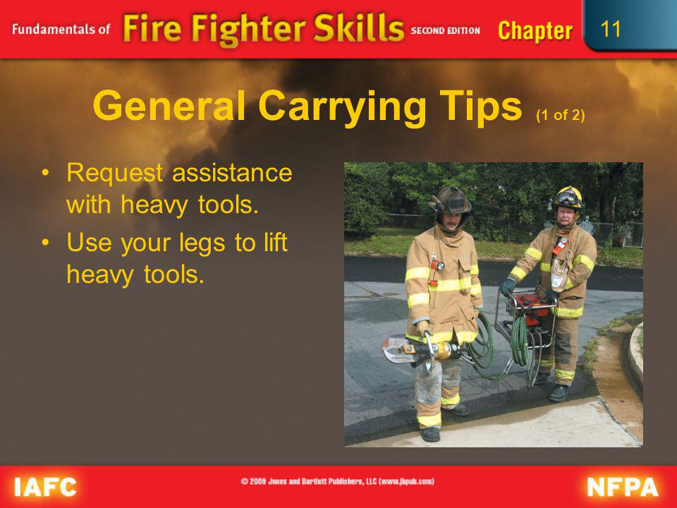 11 General Carrying Tips (2 of 2) Keep sharp edges and points away from your body.