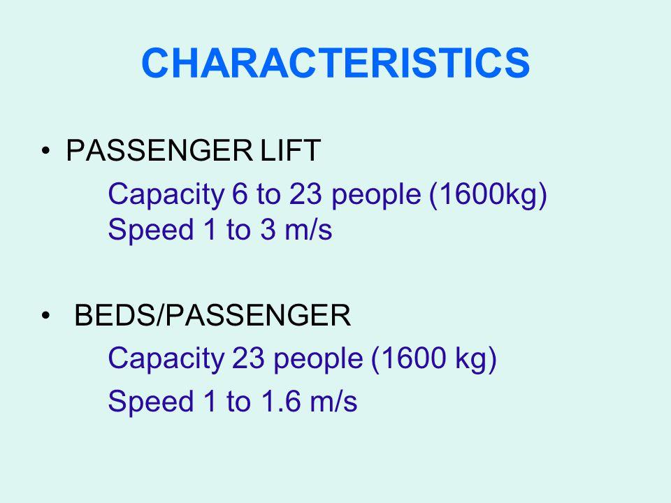 CHARACTERISTICS PASSENGER LIFT Capacity 6 to 23 people (1600kg) Speed 1 to 3 m/s BEDS/PASSENGER Capacity 23 people (1600 kg) Speed 1 to 1.6 m/s