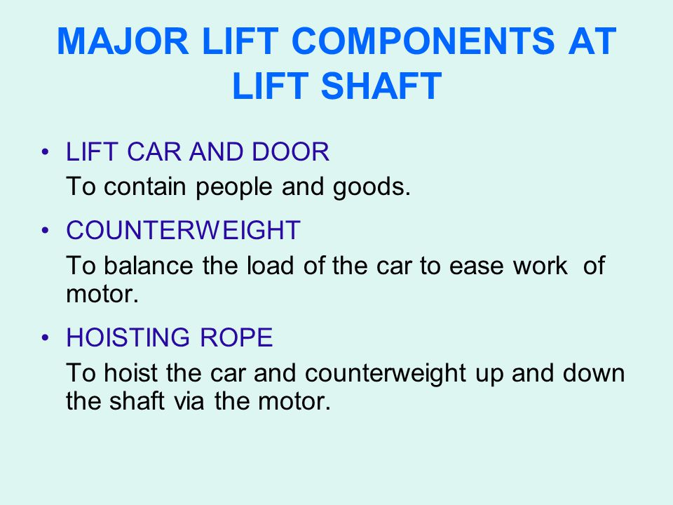 MAJOR LIFT COMPONENTS AT LIFT SHAFT LIFT CAR AND DOOR To contain people and goods. COUNTERWEIGHT To balance the load of the car to ease work of motor.