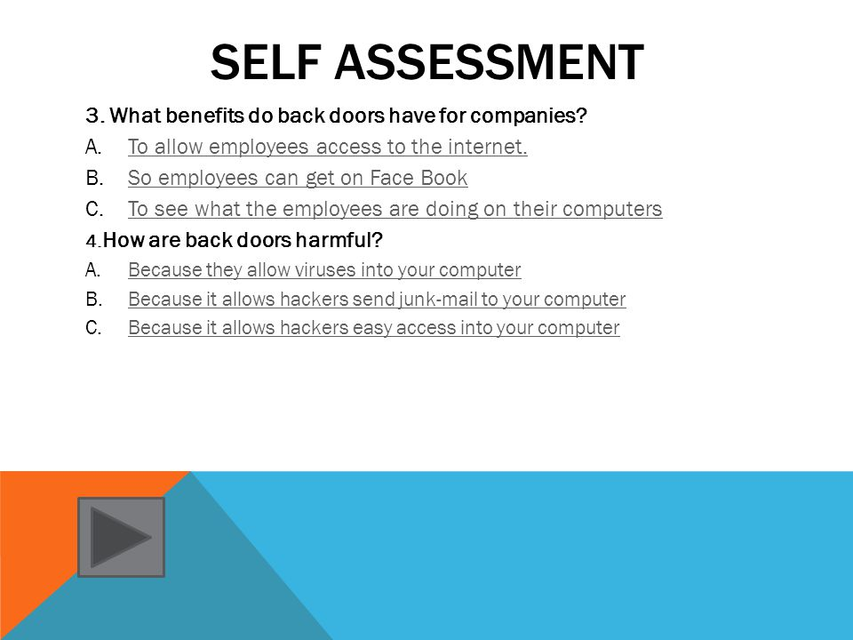 SELF ASSESSMENT 1.Why would some one use a back door.