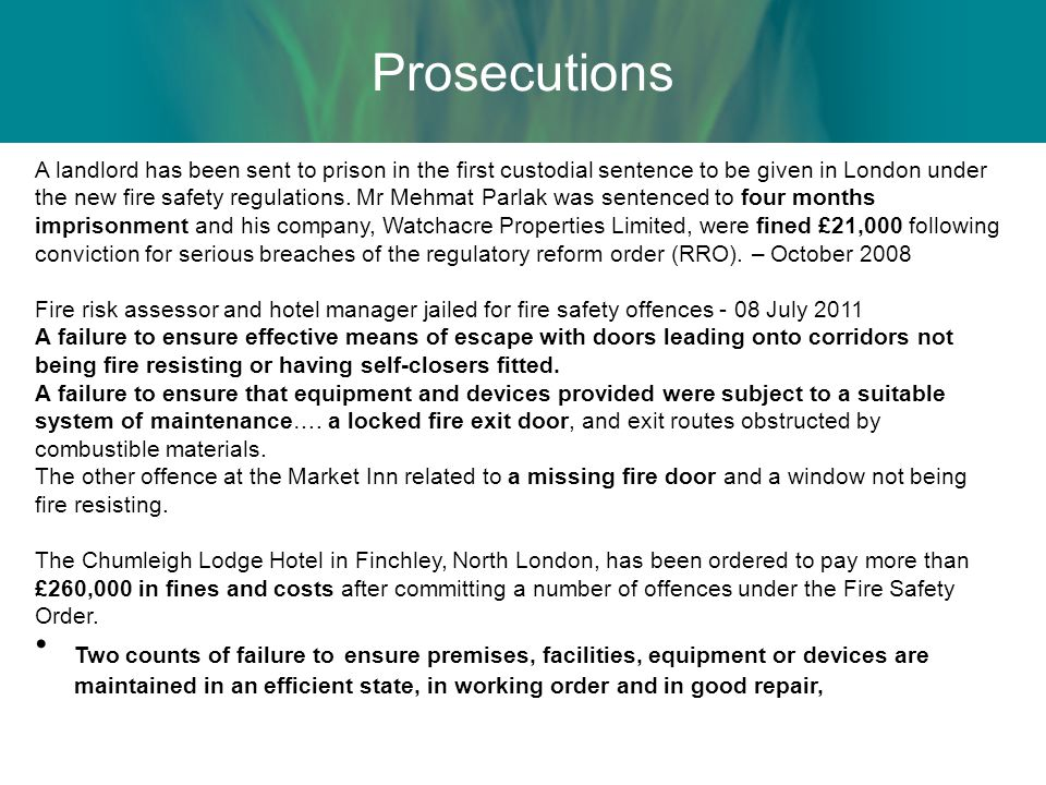 A landlord has been sent to prison in the first custodial sentence to be given in London under the new fire safety regulations.