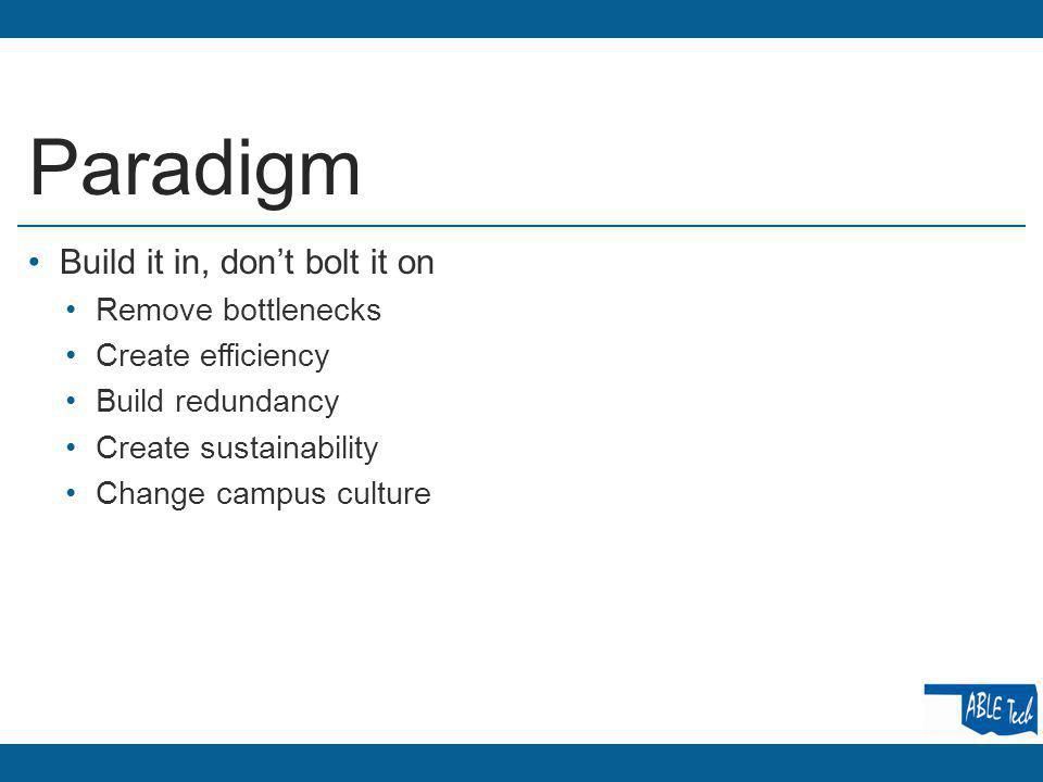 Paradigm Build it in, dont bolt it on Remove bottlenecks Create efficiency Build redundancy Create sustainability Change campus culture
