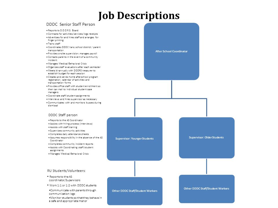 Job Descriptions RU Students/Volunteers: Reports to the AS coordinator/Supervisors Work 1:1 or 1:2 with DDDC students Communicate with parents through communication logs Monitor students so that they behave in a safe and appropriate manor DDDC Staff person Reports to the AS Coordinator Assists with hiring process (interviews) Assists with staff training Supervises community activities Completes daily attendance sheets Assumes responsibility in the absence of the AS Coordinator Completes community incident reports Assists with Coordinating staff/student assignments Manages Medical/Behavioral Crisis DDDC Senior Staff Person Reports to D.O.O.R.S.