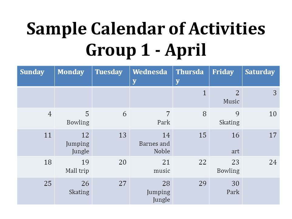 Sample Calendar of Activities Group 1 - April SundayMondayTuesdayWednesda y Thursda y FridaySaturday 12 Music 3 45 Bowling 67 Park 89 Skating 10 1112 Jumping Jungle 1314 Barnes and Noble 1516 art 17 1819 Mall trip 2021 music 2223 Bowling 24 2526 Skating 2728 Jumping Jungle 2930 Park