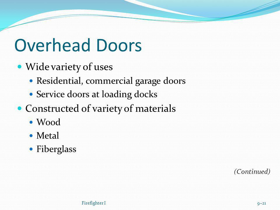 Overhead Doors Wide variety of uses Residential, commercial garage doors Service doors at loading docks Constructed of variety of materials Wood Metal