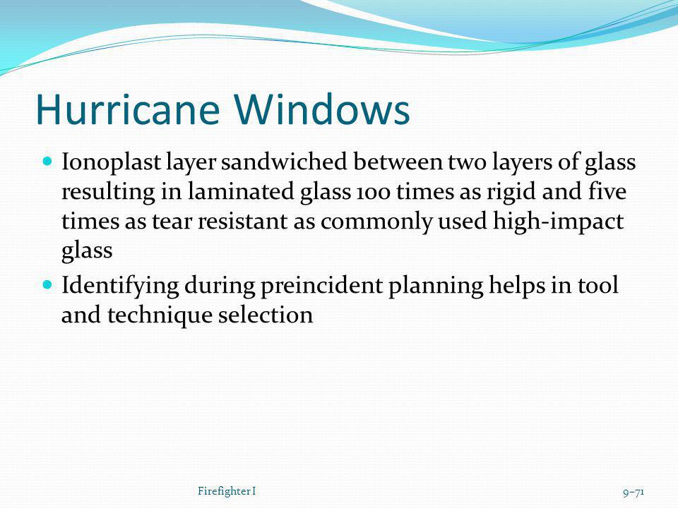 Hurricane Windows Ionoplast layer sandwiched between two layers of glass resulting in laminated glass 100 times as rigid and five times as tear resist