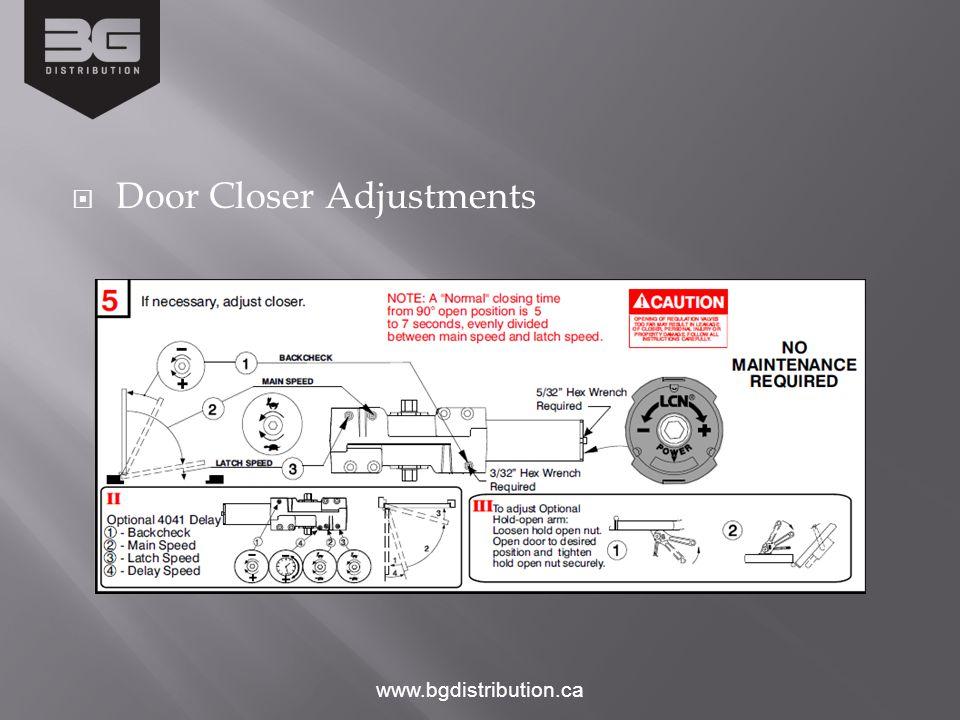 Door Closer Adjustments www.bgdistribution.ca