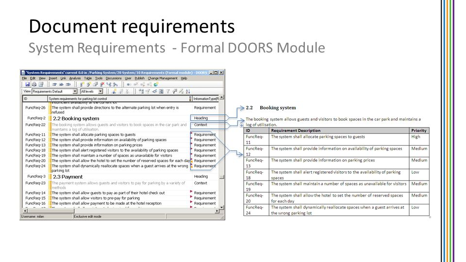 Document requirements System Requirements - Formal DOORS Module