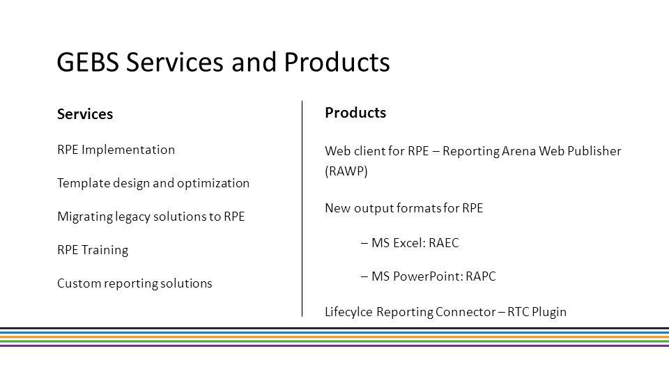 Rational Live document generation 2012 RTC storage app RQM storage app DOORS storage app XML RPE engine RAWP Server OSLC Links RPE Studio Document templates Design Share storage OSLC Links