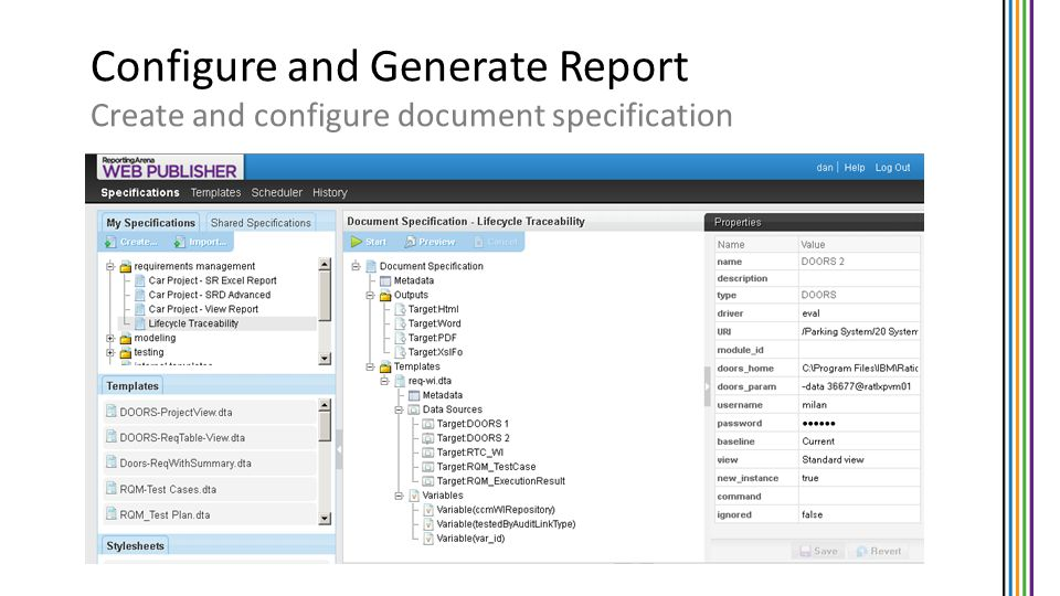Configure and Generate Report Create and configure document specification