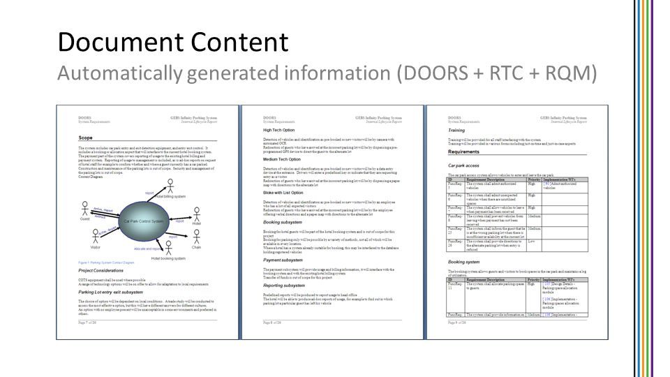 Document Content Automatically generated information (DOORS + RTC + RQM)