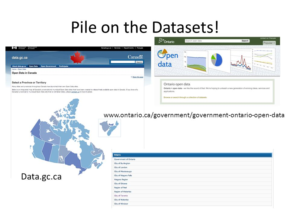 Data.gc.ca www.ontario.ca/government/government-ontario-open-data Pile on the Datasets!