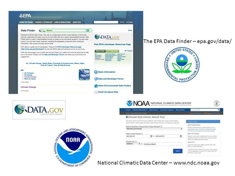 The EPA Data Finder – epa.gov/data/ National Climatic Data Center – www.ndc.noaa.gov