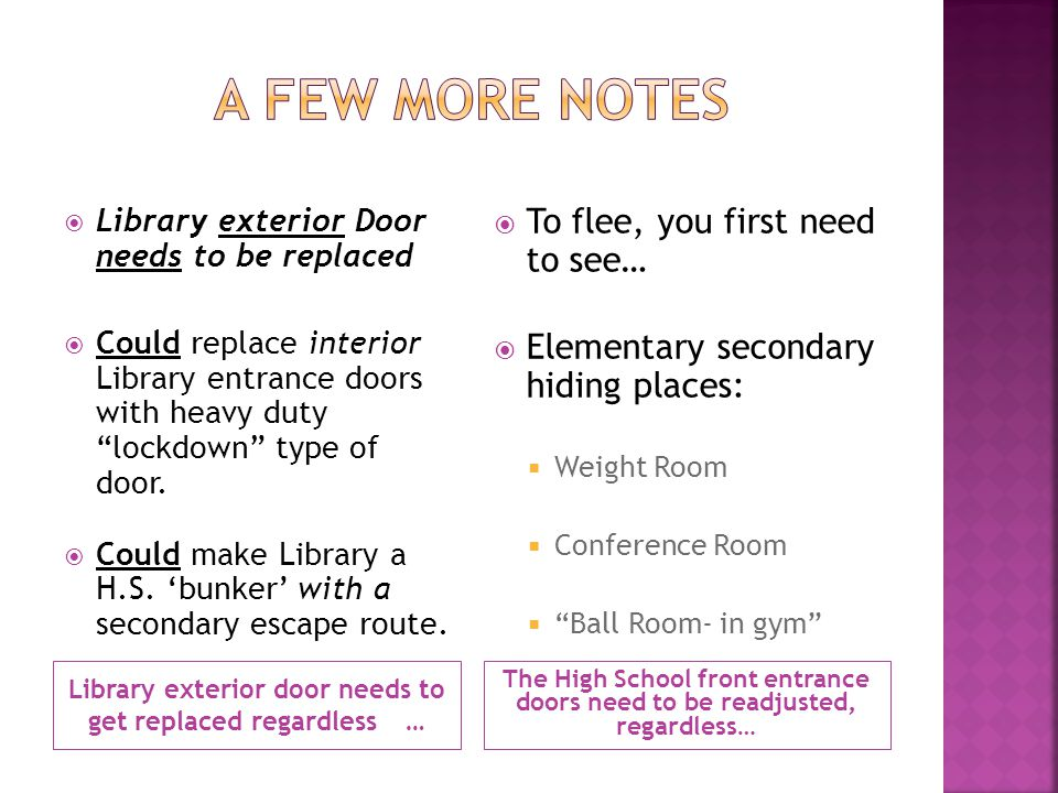 Library exterior door needs to get replaced regardless… The High School front entrance doors need to be readjusted, regardless… Library exterior Door needs to be replaced Could replace interior Library entrance doors with heavy duty lockdown type of door.