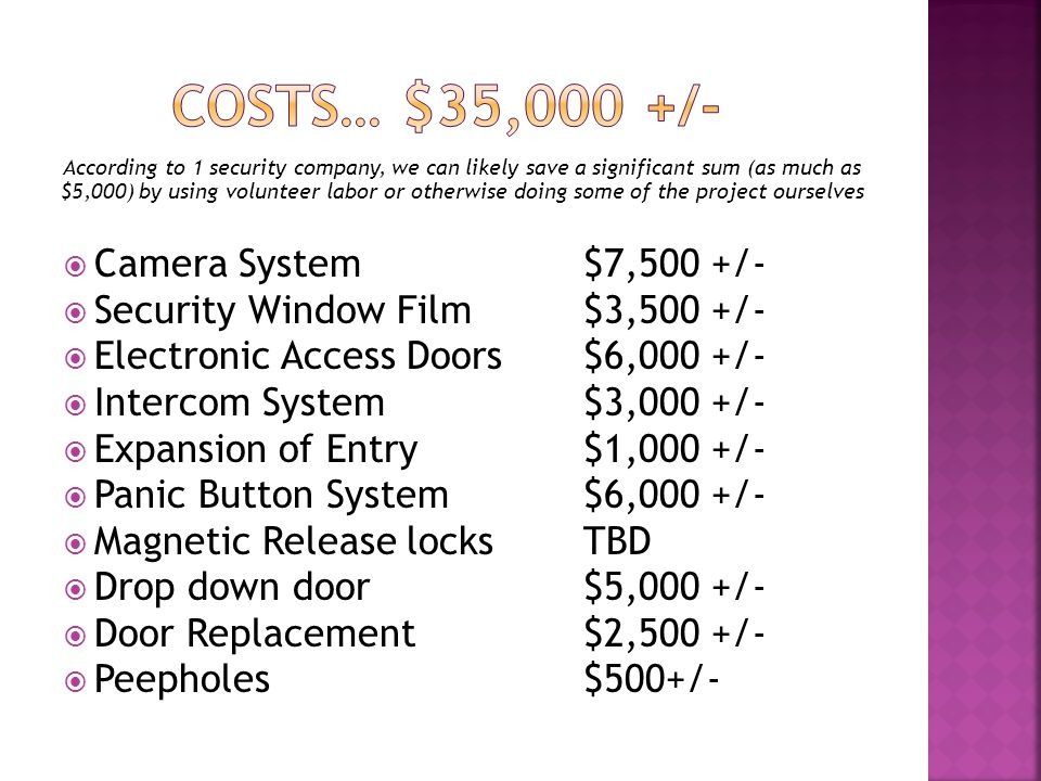 According to 1 security company, we can likely save a significant sum (as much as $5,000) by using volunteer labor or otherwise doing some of the project ourselves Camera System $7,500 +/- Security Window Film $3,500 +/- Electronic Access Doors $6,000 +/- Intercom System $3,000 +/- Expansion of Entry $1,000 +/- Panic Button System$6,000 +/- Magnetic Release locks TBD Drop down door $5,000 +/- Door Replacement $2,500 +/- Peepholes$500+/-