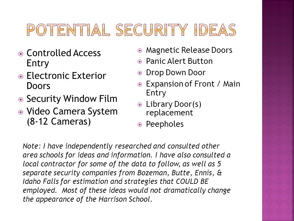 Controlled Access Entry Electronic Exterior Doors Security Window Film Video Camera System (8-12 Cameras) Magnetic Release Doors Panic Alert Button Drop Down Door Expansion of Front / Main Entry Library Door(s) replacement Peepholes Note: I have independently researched and consulted other area schools for ideas and information.