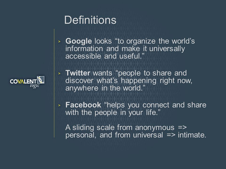 Definitions Google looks to organize the worlds information and make it universally accessible and useful.