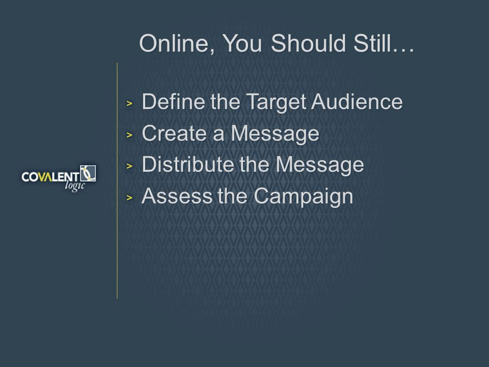Online, You Should Still… Define the Target Audience Create a Message Distribute the Message Assess the Campaign
