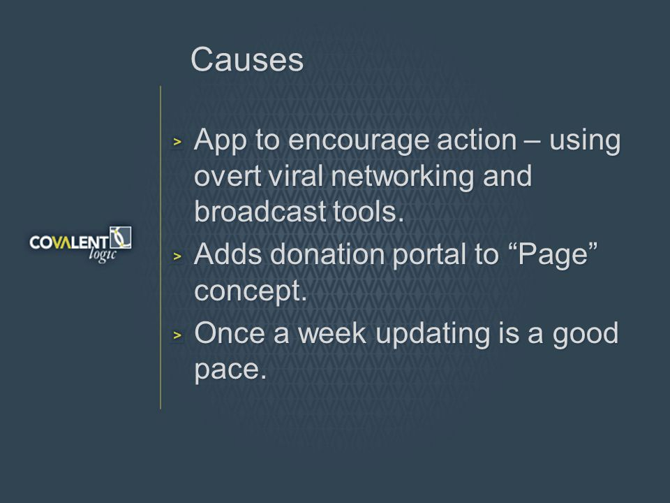 Causes App to encourage action – using overt viral networking and broadcast tools.